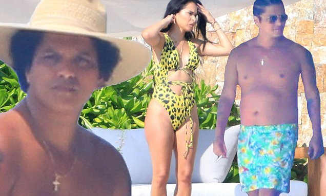 6ba34f240c Bruno Mars slips on printed trunks for beach day with girlfriend | Top News  Wood