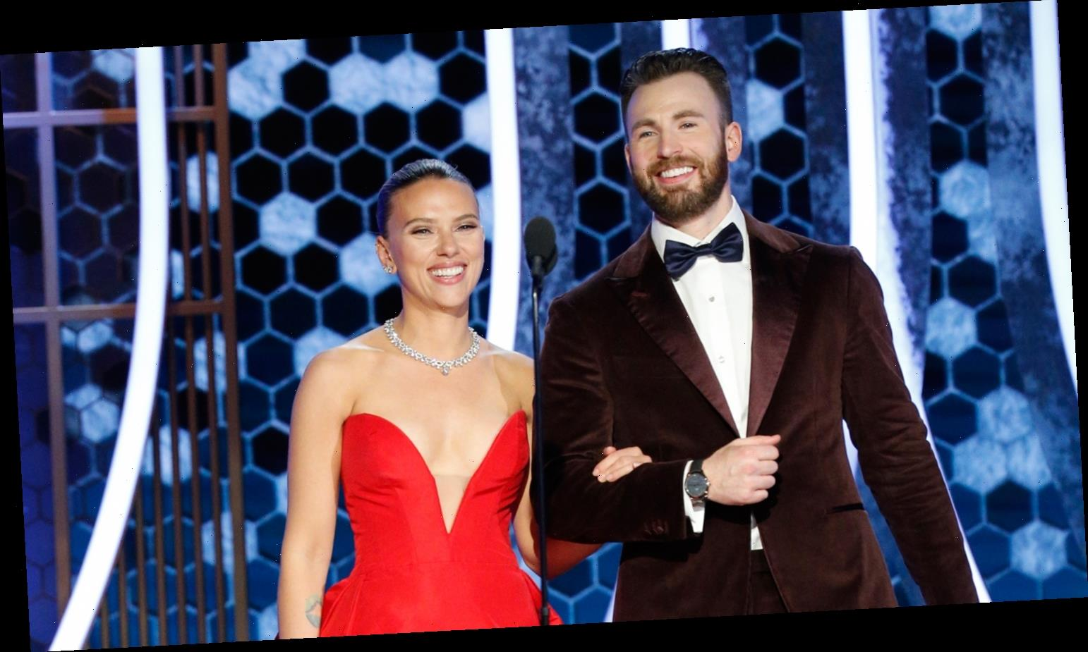 Chris Evans Helps Scarlett Johansson With Her Dress During Off Camera Golden Globes 2020 Moment Top News Wood